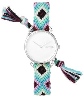 RumbaTime Jane Silvertone White Dial Interchangeable White, Purple and Blue Braided Strap Watch