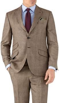 Charles Tyrwhitt Tan Check Classic Fit British Serge Luxury Suit Wool Jacket Size 38