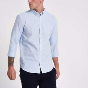 River Island Mens Blue stripe rolled sleeve slim fit shirt