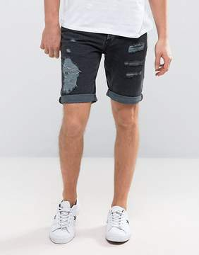 New Look Slim Denim Shorts With Rips In Wash Black