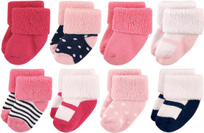 Luvable Friends Pink Mary Jane Eight-Pair Shoe Socks Set - Infant