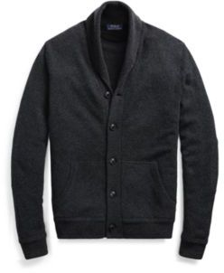 Ralph Lauren Merino Wool Shawl Cardigan Dark Charcoal Heather Xs