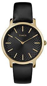 Timex Ladies Metropolitan Black Leather Strap Analog Watch