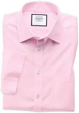 Charles Tyrwhitt Slim Fit Non-Iron Poplin Short Sleeve Pink Cotton Dress Shirt Size 14.5/Short