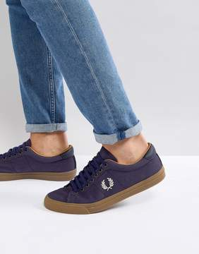 Fred Perry Underspin Heavy Waxed Canvas Sneakers In Navy