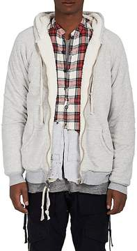 Greg Lauren Men's Sherpa-Lined Stretch-Cotton Hoodie
