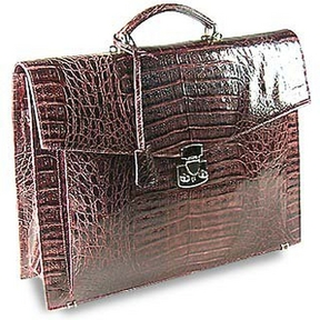 Fontanelli Brown Croc-Embossed Leather Briefcase