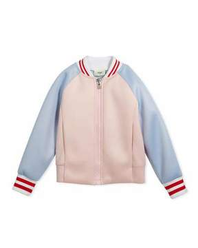 Fendi Colorblock Varsity Jacket w/ Logo Back, Size 6-8