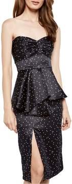 Bardot Spot Print Strapless Peplum Dress