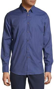 Report Collection Men's Small Check Button-Down Shirt