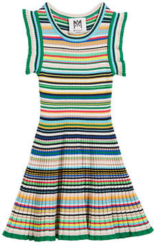 Milly Minis Micro-Stripe Flare Dress, Size 4-7