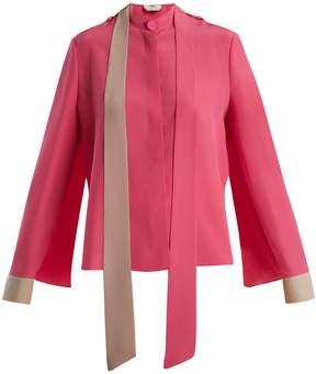 Fendi Contrast-cuff silk crepe de Chine blouse