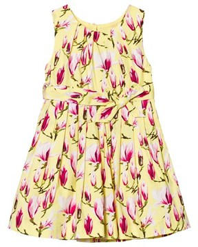 Rachel Riley Yellow Magnolia Print Pleated Dress