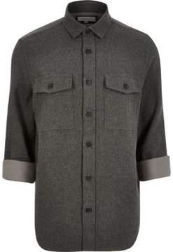 River Island Mens Grey flannel two pocket overshirt
