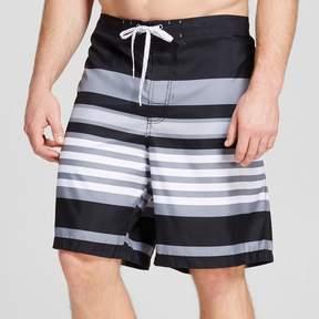 Merona Men's Big & Tall Stripe Swim Trunks Gray