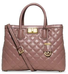 Michael Kors Hannah Dusty Rose Quilted Leather Large Satchel Bag - DUSTY ROSE - STYLE
