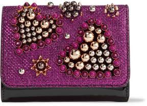 Christian Louboutin Macaron Mini Embellished Metallic Raffia And Patent-leather Wallet - Magenta