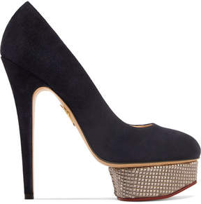Charlotte Olympia The Dolly Suede Platform Pumps - Navy