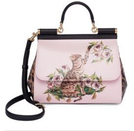 Dolce & Gabbana Cat & Floral Leather Top-Handle Bag - PINK - STYLE