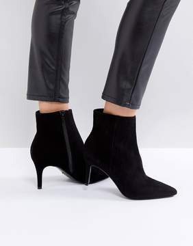 Dune London Pull on Heeled Sock Boot in Black Leather