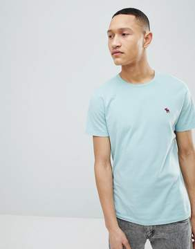 Abercrombie & Fitch Moose Icon Logo Crewneck T-Shirt in Light Blue