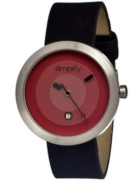 Simplify The 300 Red Dial Black Leather Unisex Watch