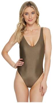 Becca by Rebecca Virtue Reversible Shimmer High Leg One-Piece Women's Swimsuits One Piece
