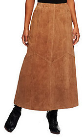 Denim & Co. Washable Suede Skirt with Seaming Detail