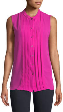 T Tahari Sleeveless Pleated Button-Front Blouse