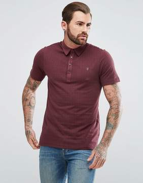 Farah Chelsea Slim Fit Jacquard Polo Shirt in Red