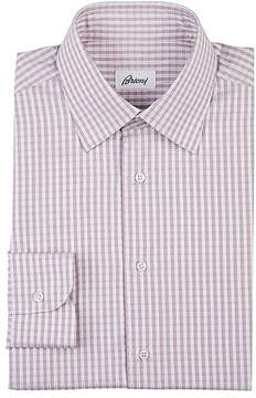 Brioni Men's Checked Cotton Poplin Dress Shirt