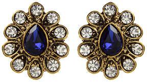 Amrita Singh Blue & White Crystal Pear-Cut Stud Earrings