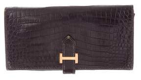 Hermes Crocodile Bearn Wallet - BLACK - STYLE