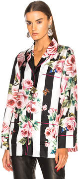 Dolce & Gabbana Floral Striped Twill Pajama Top