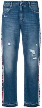 Ermanno Scervino floral applique side stripe jeans