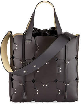 Paco Rabanne 1601 Cabas Medium Studded Patchwork Tote Bag