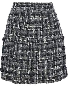 Anthracite Button-Embellished Wool-Blend Bouclé-Tweed Mini Skirt