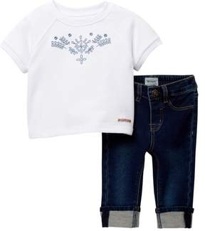 Hudson French Terry Embroidered Pullover & Pants (Baby Girls)
