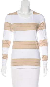 Anine Bing Metallic-Accented Striped Top w/ Tags
