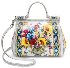 Dolce & Gabbana Sicily Printed Leather Top Handle Satchel - WHITE PRINT - STYLE