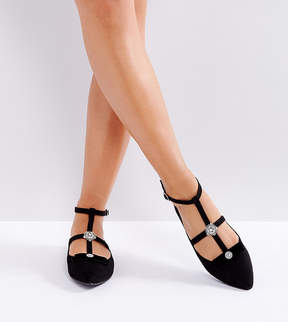 New Look Wide Fit Caged Flat Shoe With Broch Detail