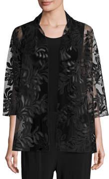 Caroline Rose 3/4-Sleeve Leather Leaf Mesh Jacket, Black, Petite