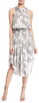 Halston Sleeveless Printed Ruched Midi Dress