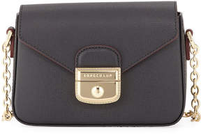 Longchamp Le Pliage Heritage Mini Leather Crossbody Bag - BLACK - STYLE