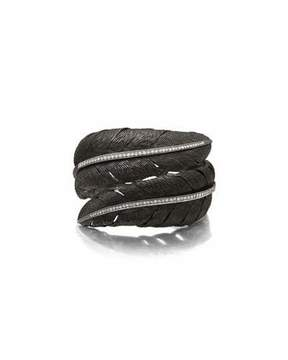 Michael Aram Feather Black Rhodium Bypass Bangle with White Diamonds