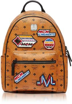 MCM Small Cognac Victory Patch Visetos Stark Backpack