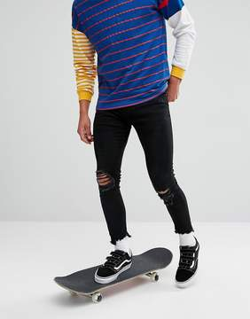 Pull&Bear Super Skinny Cropped Ripped Jeans In Black Wash