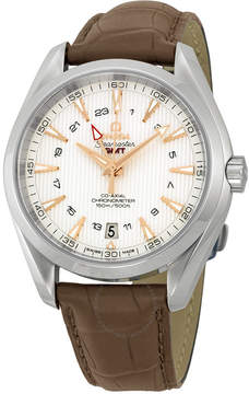 Omega Seamaster Aqua Terra GMT Silver Dial Brown Leather Men's Watch 23113432202004