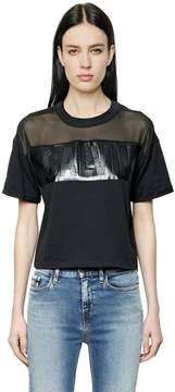 Calvin Klein Jeans Logo Cotton Jersey & Mesh T-Shirt