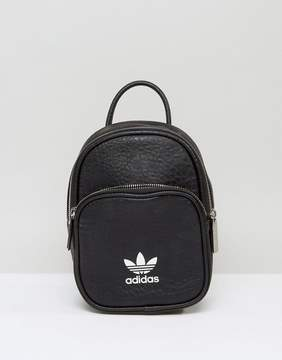 adidas Leather Look Mini Backpack In Black